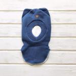 Шлем для мальчика трехслойный с ушками, светло-джинс