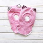 Шлем трехслойный с ушками-пайетками, светло-розовый