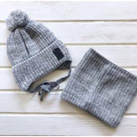Комплект для мальчика Шапка+Снуд, серый