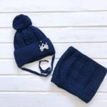 Комплект для девочки Шапка+Снуд, темно-синий