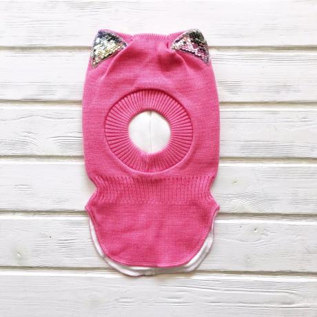 Шлем трехслойный с ушками-пайетками, розовый