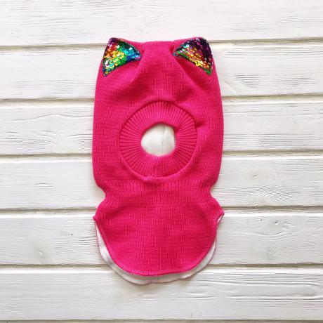 Шлем трехслойный с ушками-пайетками, ярко-розовый