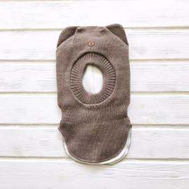Шлем для мальчика трехслойный с ушками, коричневый