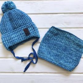 Комплект для мальчика Шапка+Снуд, голубой