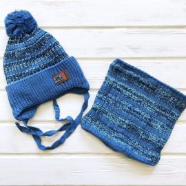 Комплект для мальчика Шапка+Снуд, джинс