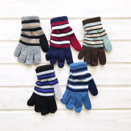 Перчатки детские Полоса р-р 7-8 лет, микс