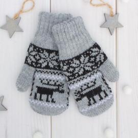 Варежки двойные детские Северное сияние, серый