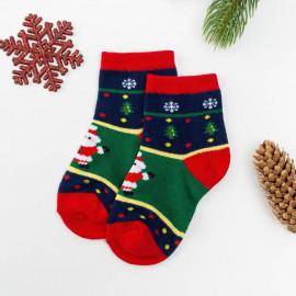 Носки детские Дед Мороз, зеленый