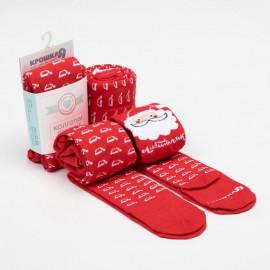Колготки Любимчик Деда Мороза, красный