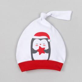 Чепчик (шапочка) Новогодний пингвинчик, белый