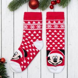 Носки новогодние детские Снежинки Микки, красный