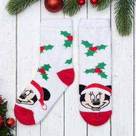 Носки новогодние детские Омела Микки, белый