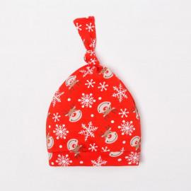 Чепчик (шапочка) Новогодний оленёнок, красный