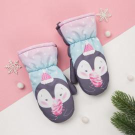 Варежки зимние Пингвинчик, розовый/серый