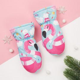 Варежки зимние Фламинго, розовый/голубой