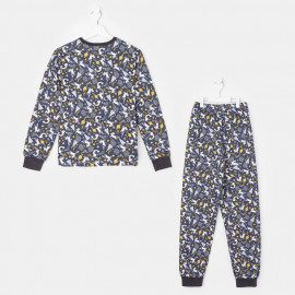 Пижама тёплая Единороги, черный
