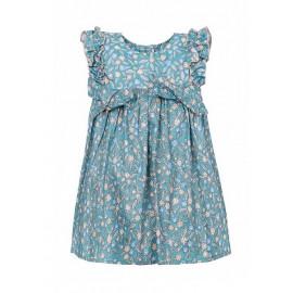 Платье для девочки Цветочки, серо-зеленое