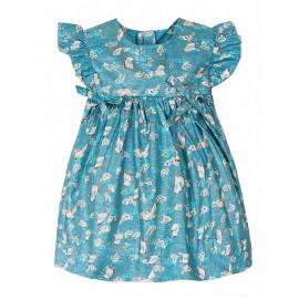 Платье для девочки Журавли, сине-зеленое