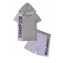 Костюм с капюшоном для мальчика Чемпион, меланж/серый