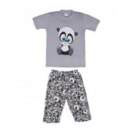 Костюм для мальчика Панда, серый