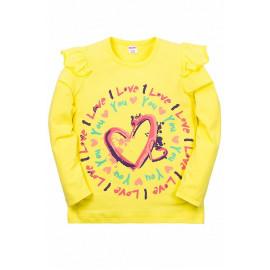 Лонгслив для девочки Сердечки, желтый