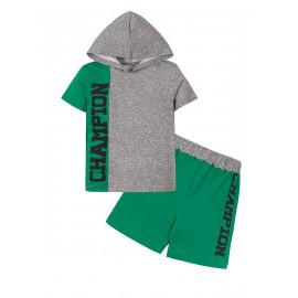 Костюм с капюшоном для мальчика Чемпион, меланж/зеленый