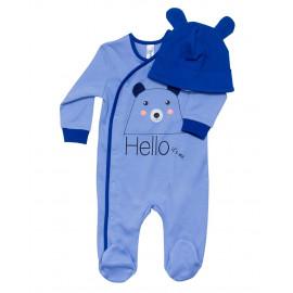Комплект ясельный для мальчика Медведь, голубой