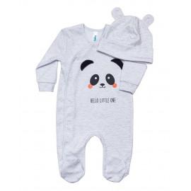 Комплект ясельный для мальчика Панда, серый