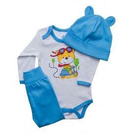 Комплект ясельный для мальчика Мишка, голубой