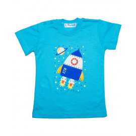 Футболка ясельная для мальчика Космос, темно-бирюзовый