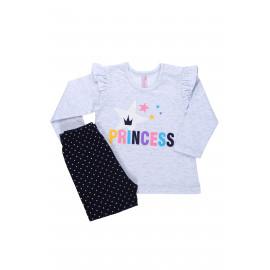 Комплект ясельный для девочки Принцесса, серый