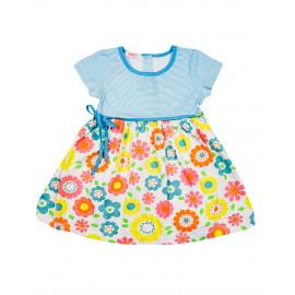 Платье для девочки Цветочки, бирюзовый