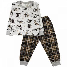 Пижама тонкая Котики, коричневый