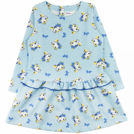 Платье теплое  для девочки Котики, голубой